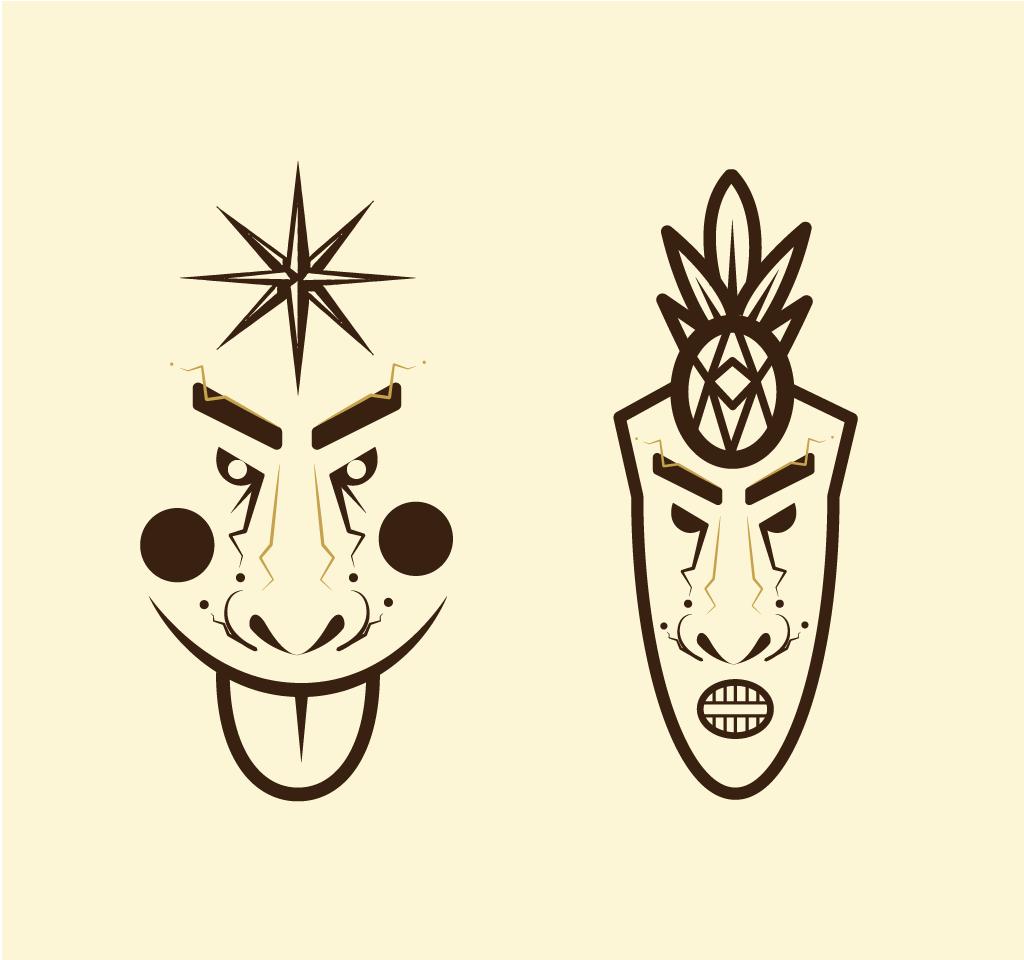 Projekt twarzy bazujących o koktajle tiki dla restuaracji Zalany Małż.